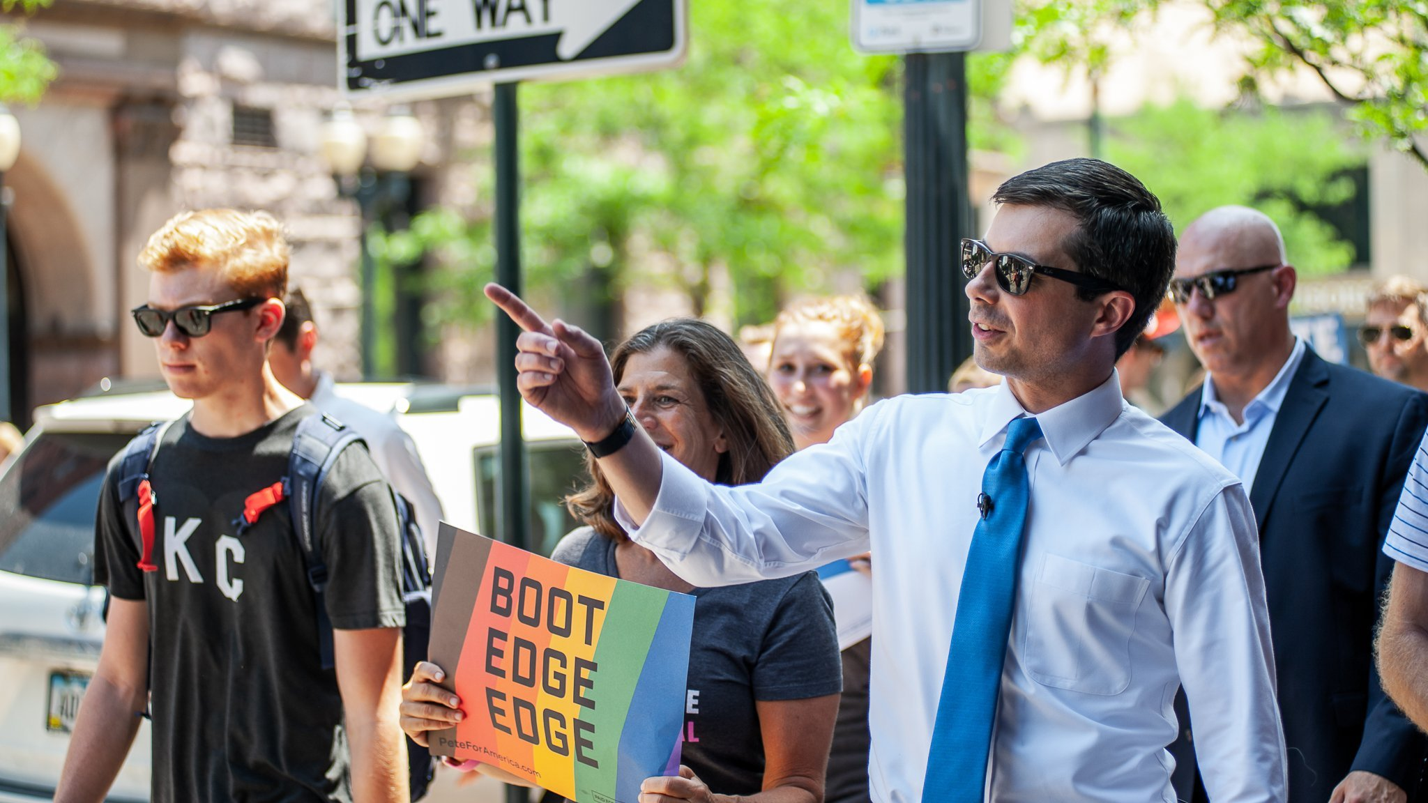 Presidential candidate Pete Buttigieg leading supporters through downtown Cedar Rapids, Iowa