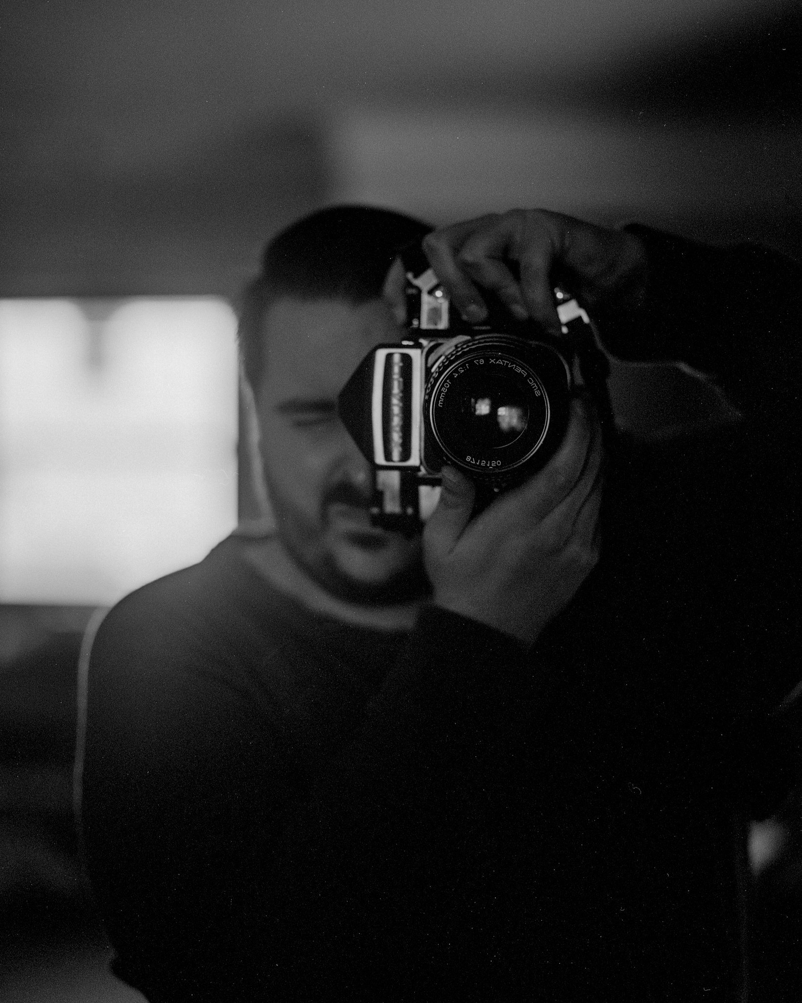 Mirror self portrait using the Pentax 6x7
