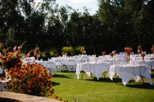 reception tables in the garden