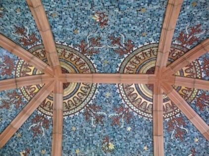 Detail of the gorgeous ceiling. An Intricate mosaic featuring stars and motifs. Used by kind permission of Jeane Trend-Hill. ©Jeane Trend-Hill