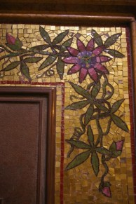 Close-up of passion flower mosaic border of memorial in Salisbury Cathedral. ©Carole Tyrrell