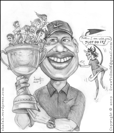 Caricature of Tiger Woods - with women, Nike, and Satan.