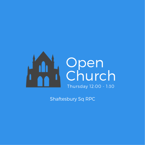Open Church Logo, time of open church is 12:00 to 1:30