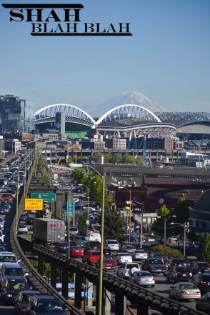 Traffic jam with Safeco Field and Mt. Rainier in the distance