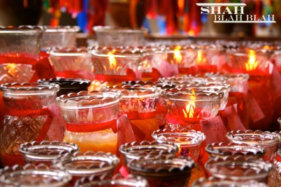 Candles lit by devotees at Kek Lok Si, Southeast Asia's largest Buddhist temple, located in Penang.