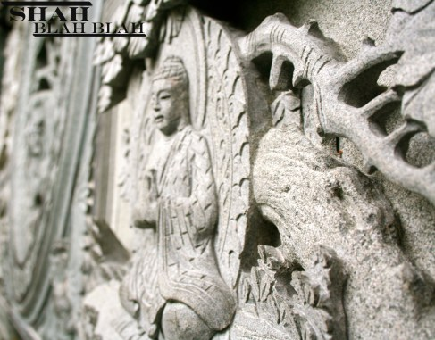 Stone carved sacred images at Kek Lok Si, Southeast Asia's largest Buddhist temple, located in Penang.