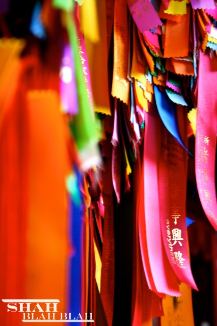 Colorful sacred Chinese ribbons at Kek Lok Si, Southeast Asia's largest Buddhist temple, located in Penang.