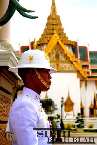 One of the many royal guards at The Grand Palace in Bangkok.