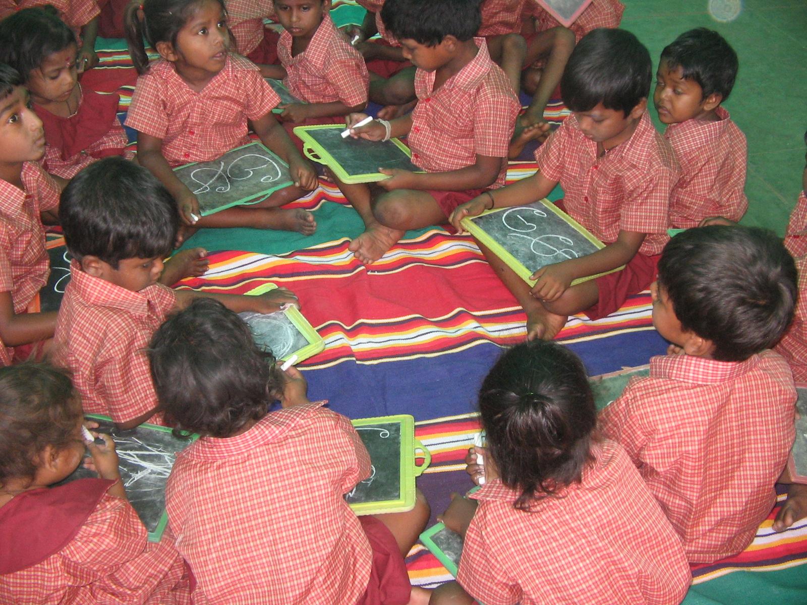 Children learning Basic literacy