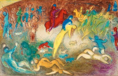 Cloe portata via dai Metimnesi, Chagall, illustrazioni per le Mille e una notte