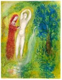 Dafnie e Cloe al bordo della fontana,Chagall, illustrazioni per le Mille e una notte