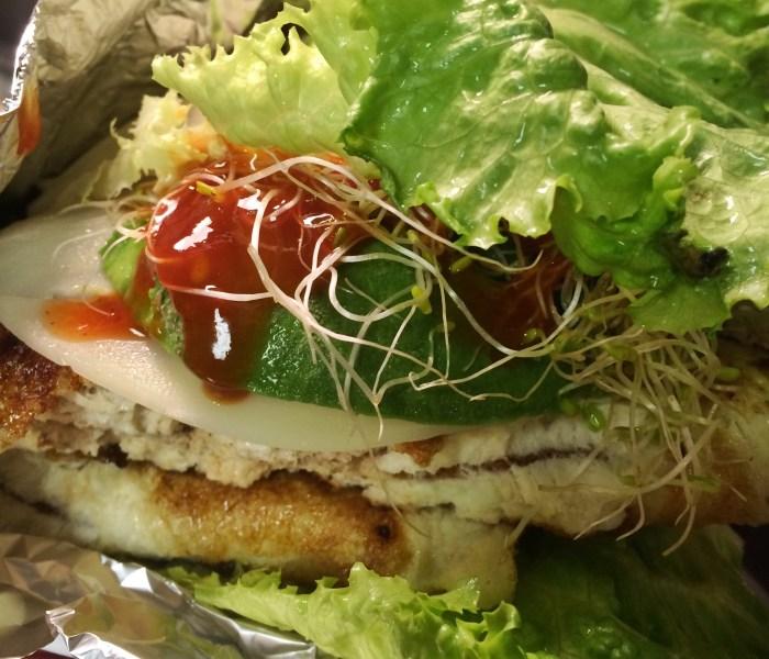 Breadless wild pink salmon sandwich recipe