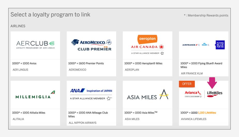 How to transfer American Express Membership Rewards to Avianca LifeMiles Step 4