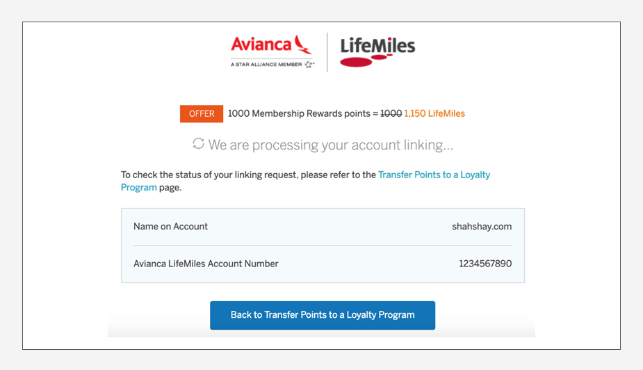 How to transfer American Express Membership Rewards to Avianca LifeMiles Step 7