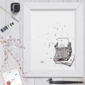 Inky Typewriter - Digital Art Print - Instant Download - Printable Art
