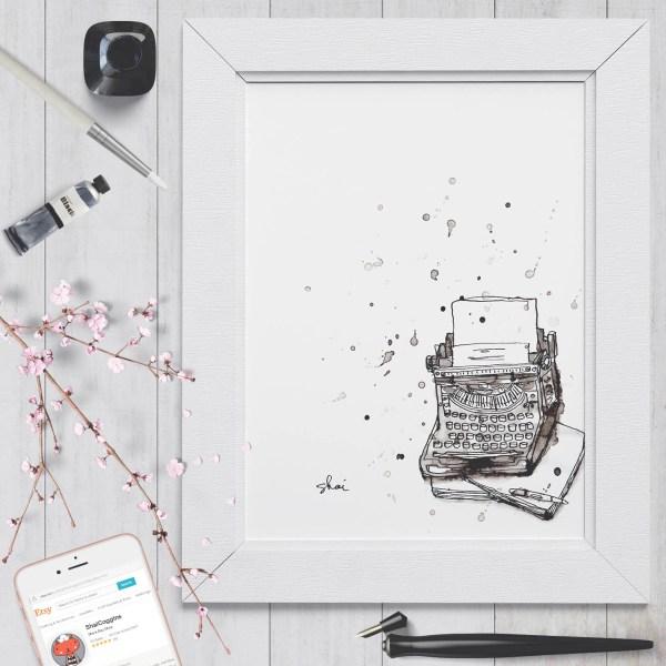 Inky Typewriter - Digital Art Print - Instant Download - Printable Art