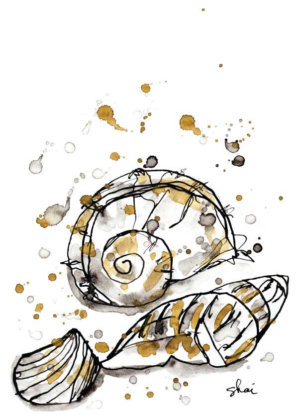 Seashells Ink - Digital Art Print - Hand Drawn Illustration