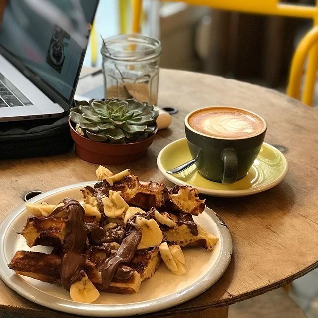 Working in a Parisian cafe along with my comfort food! #paris #cafe #digitalnomad #coffee #waffles