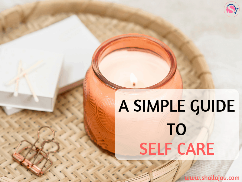 Candle inside an orange bottle placed in a wicker basket next to white gift boxes. Text overlay that shares self care ideas for busy bloggers, parents and entrepreneurs.