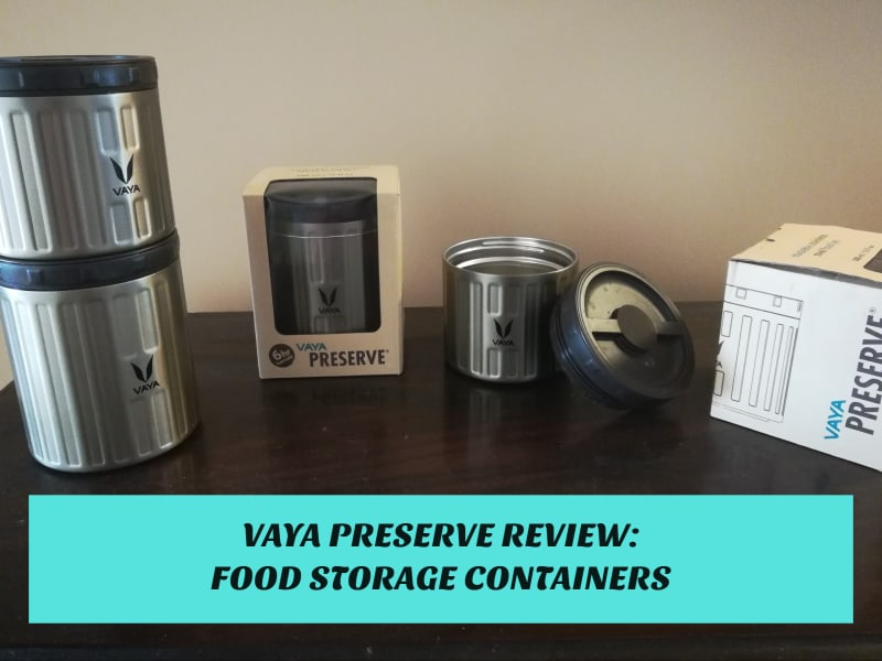 Vaya Preserve Review: Set of 4 Vaya Preserve stainless steel food containers shown stacked on a counter