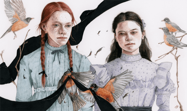 "Kindred Spirits (Anne of Green Gables), colour-pencils & markers on paper, 6x10"", 2017"