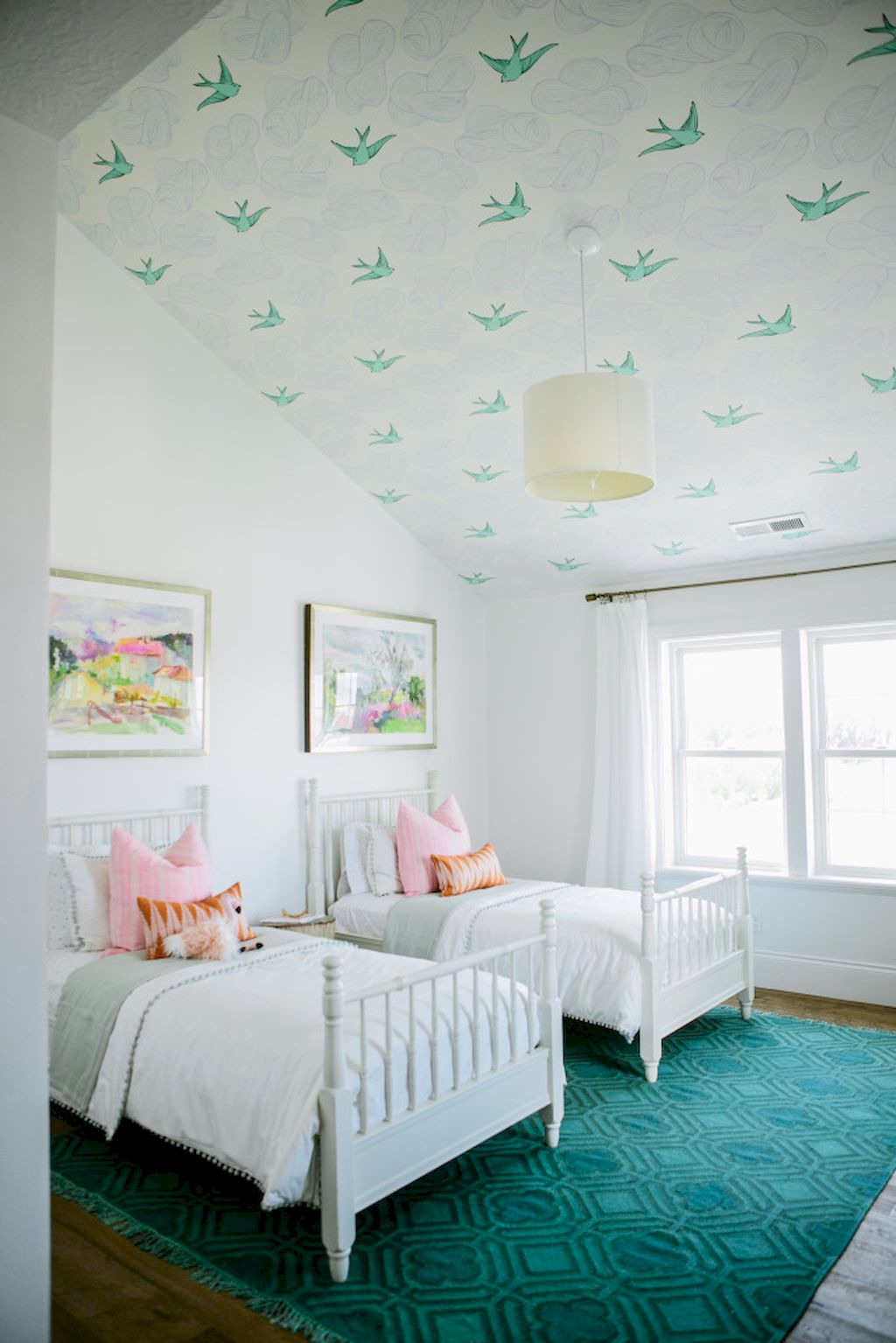 DIY Statement Ceiling paint and wallpaper Part 19