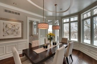 Eyecatching light fixtures above the modernclassic dining rooms Part 31