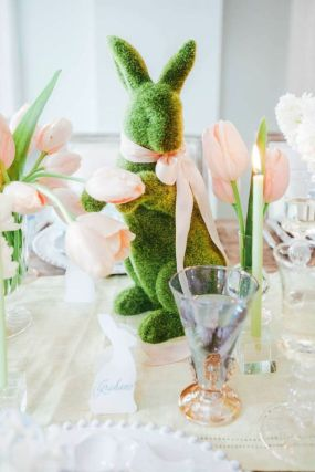 Spring tablesetting ideas with flowers live plants and decoartive eggs best for celebrating the Easter Part 27
