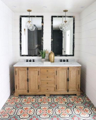 Beautiful bathroom update with eclectic patterned tiles and ethnic rugs very efficient to improve bathroom floor design Image 6