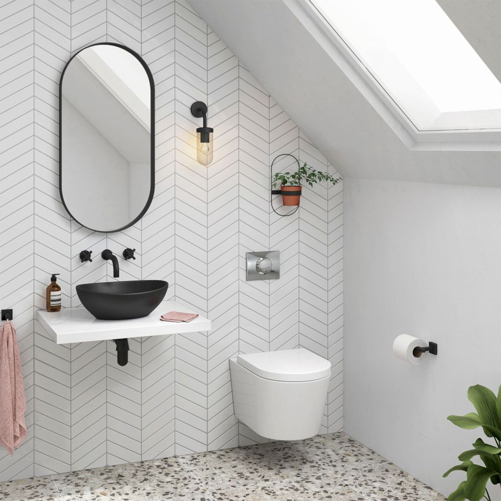 Creative bathroom updates mixing modern trend with simple 60s terrazzo style giving a brilliant contemporary balance Image 24