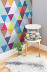 Excellent idea for kids and nursery rooms with geometric walls loaded with triangles rich tones and modern accent style Image 17