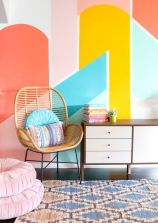Excellent idea for kids and nursery rooms with geometric walls loaded with triangles rich tones and modern accent style Image 6