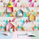 Excellent idea for kids and nursery rooms with geometric walls loaded with triangles rich tones and modern accent style Image 9