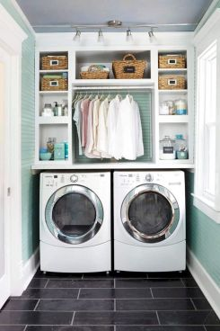 Making a simple laundry room update to maximize its function and look together with cheap accessories and simple layout designs Image 21