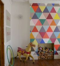 Refreshing and cheerful geometric walls design ideas best for kids and nursery rooms improving playful color scheme Image 30