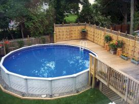 Simple pool designs built above ground designed with cheap materials for simple outdoor relieves Image 10