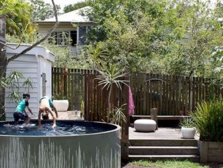 Simple pool designs built above ground designed with cheap materials for simple outdoor relieves Image 11