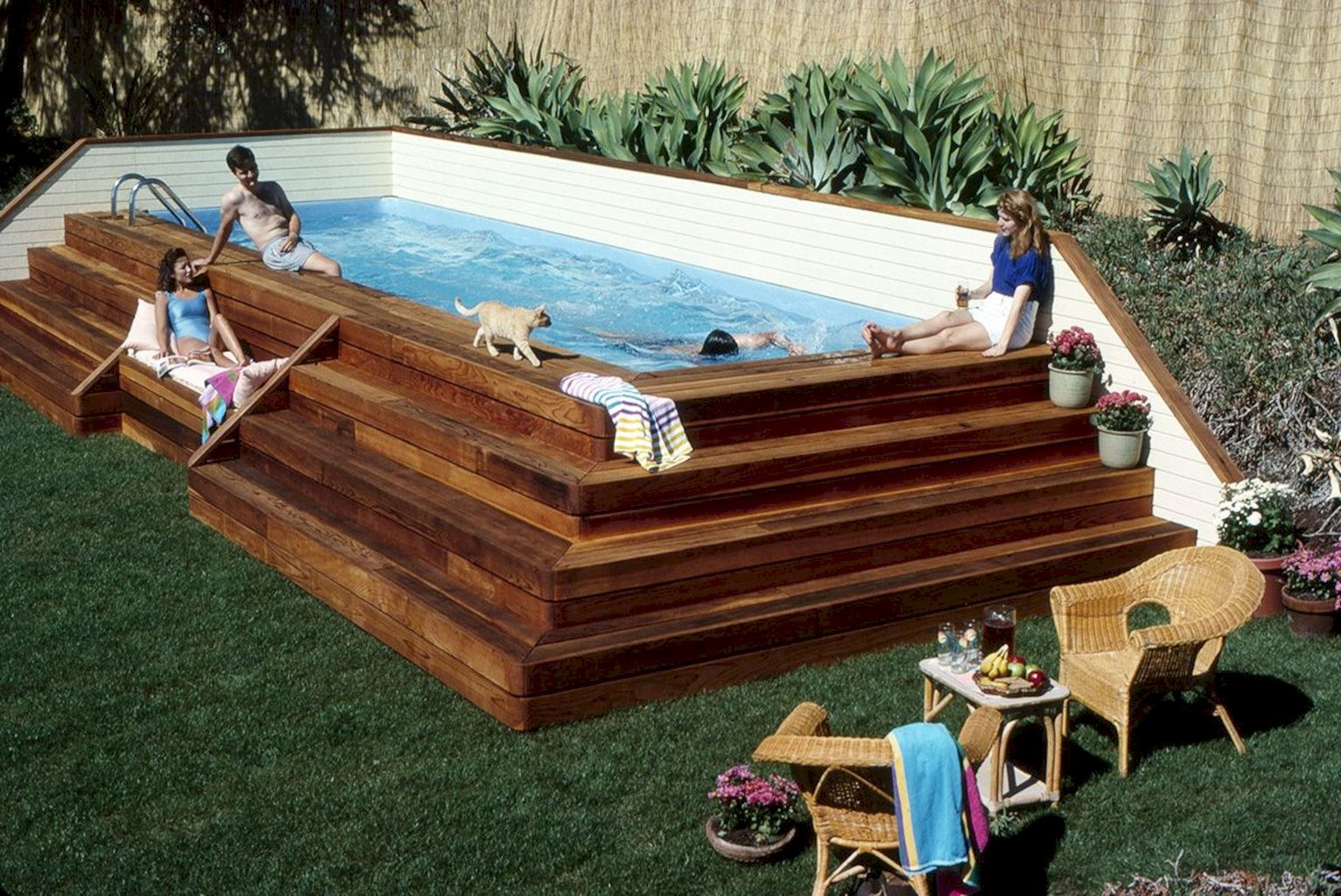 Simple pool designs built above ground designed with cheap materials for simple outdoor relieves Image 14
