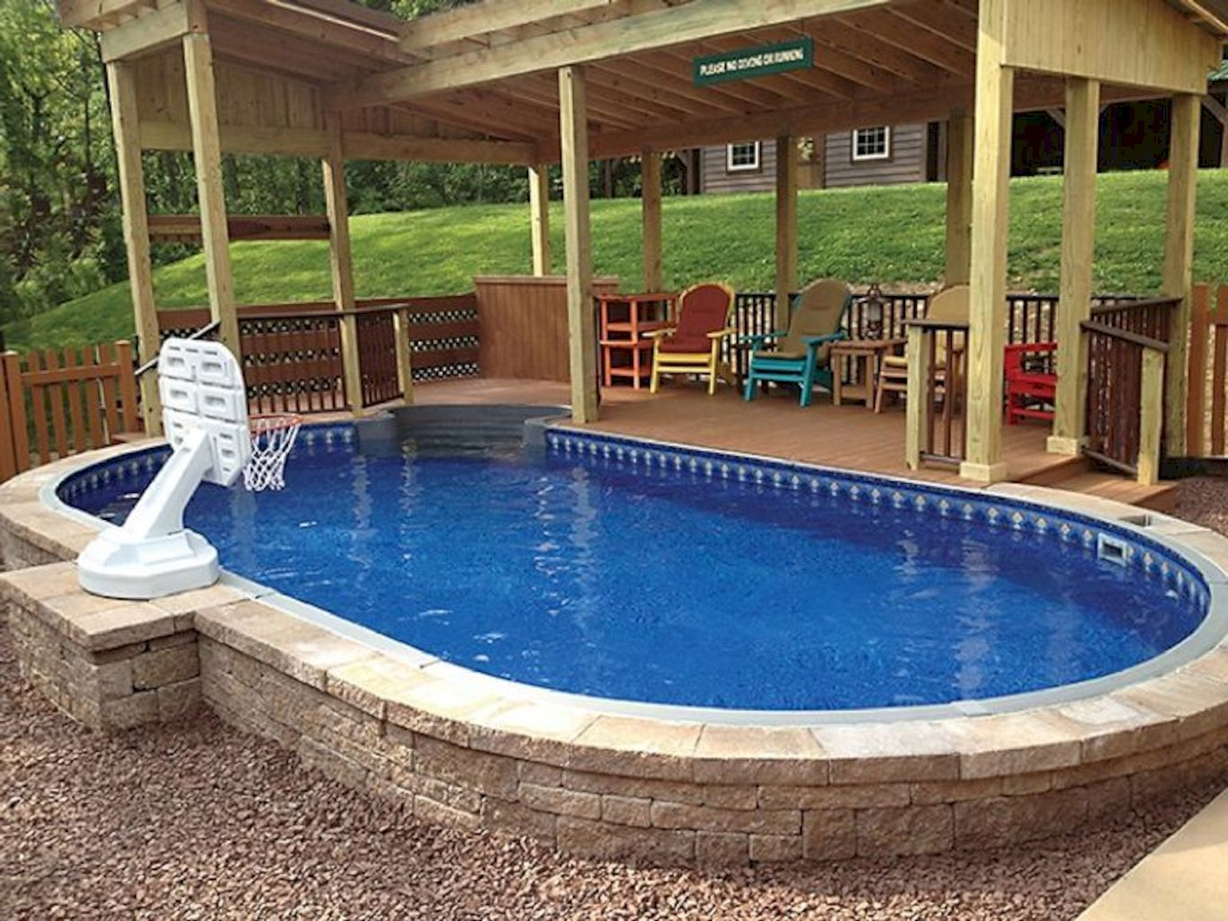 Simple pool designs built above ground designed with cheap materials for simple outdoor relieves Image 7