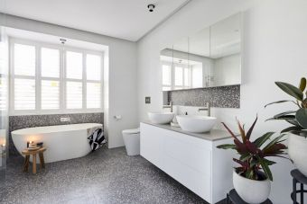 Terrazzo tiles used in bathroom renovation showing classical comeback that bring an artistic retro statement in your home Image 32