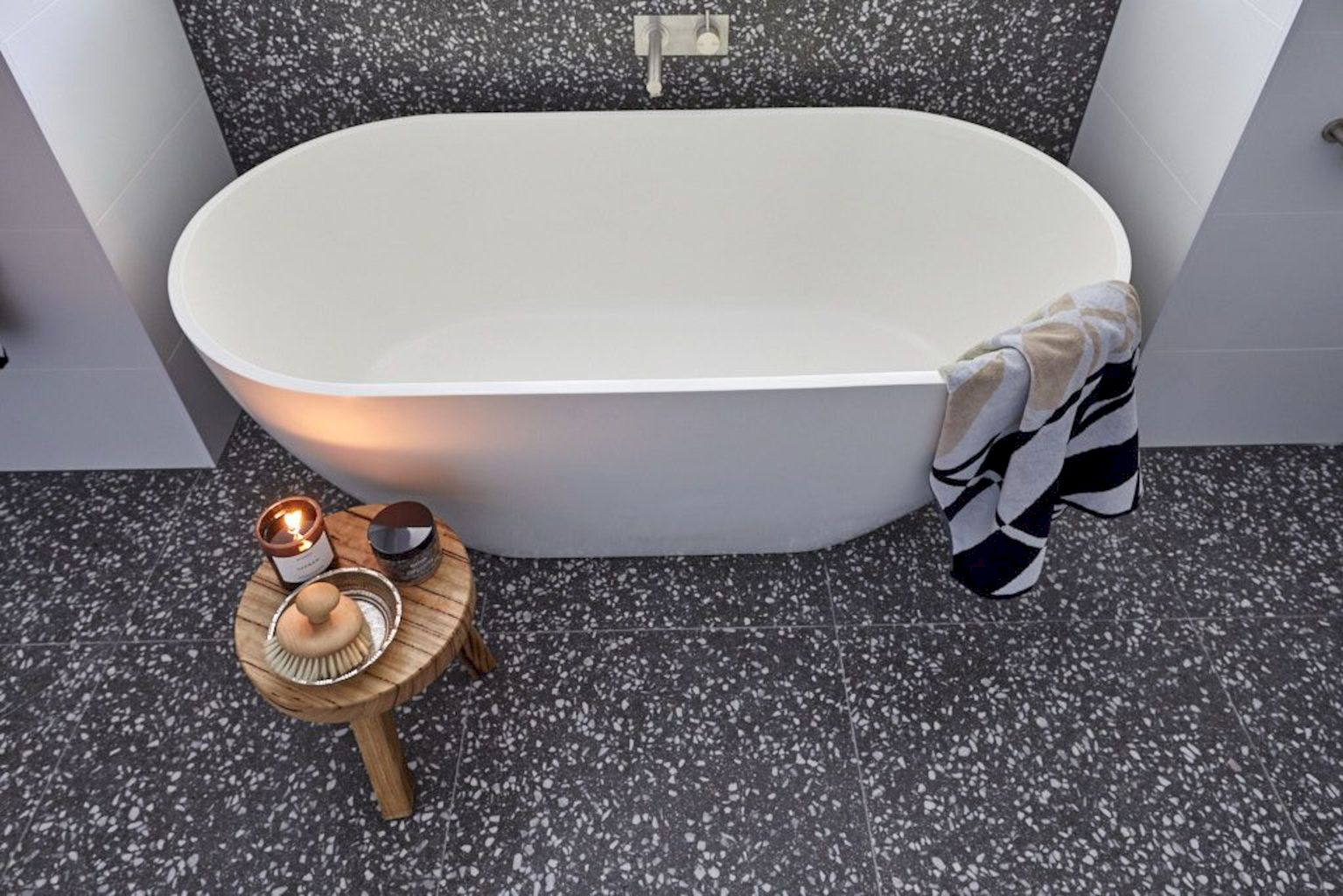 Terrazzo tiles used in bathroom renovation showing classical comeback that bring an artistic retro statement in your home Image 47