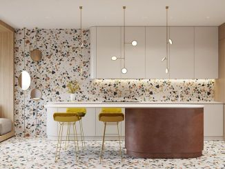 Artsy terrazzo flooring bringing back the classy vintage accent combined in modern simple interior style Image 20