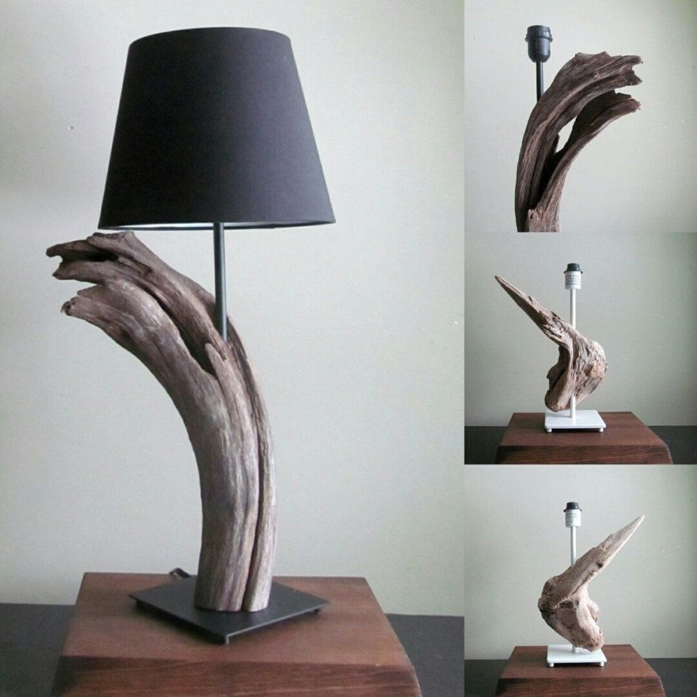 Awesome driftwood lamp stands giving authentic decoration in natural art style Image 14