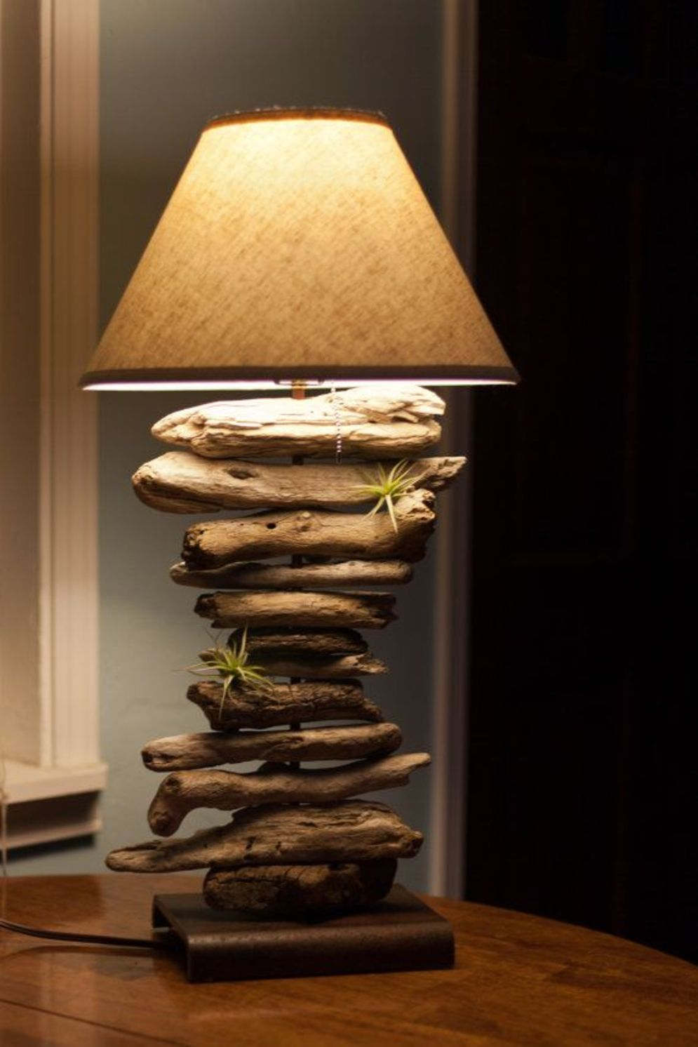 Awesome driftwood lamp stands giving authentic decoration in natural art style Image 7