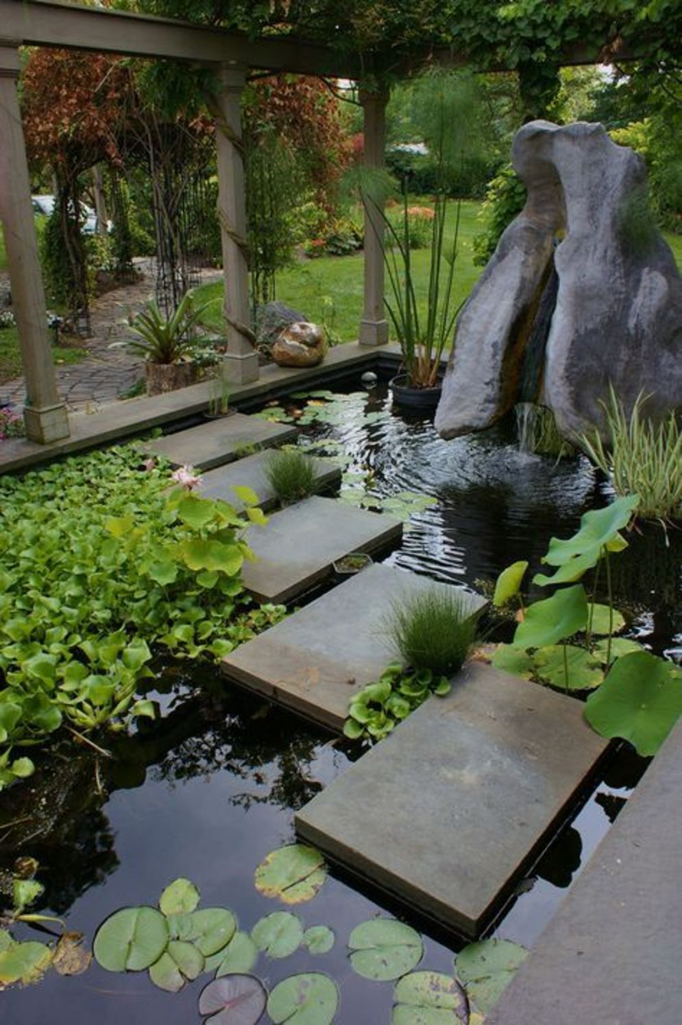 Best water garden style rich of natural accents with stones and aquatic plants compositions Image 10