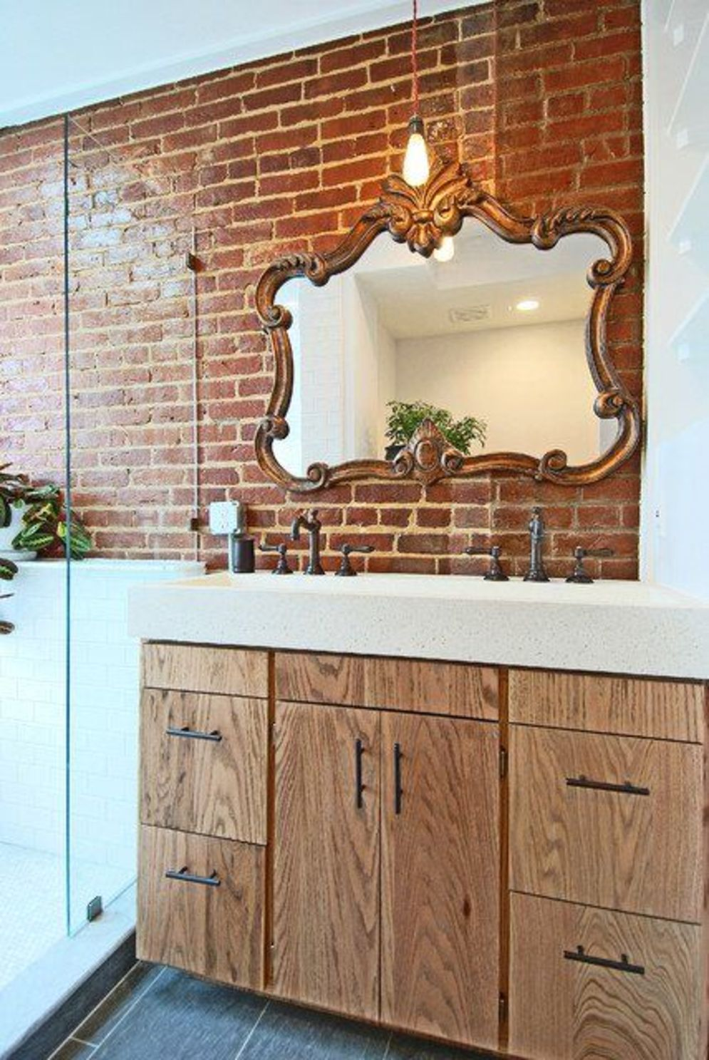 Cozy bathroom update adapting brick wall accents showing charm and friendly finish Image 12