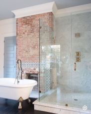 Cozy bathroom update adapting brick wall accents showing charm and friendly finish Image 8
