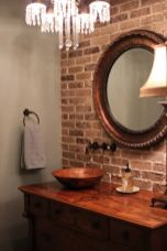 Cozy bathroom update adapting brick wall accents showing charm and friendly finish Image 9