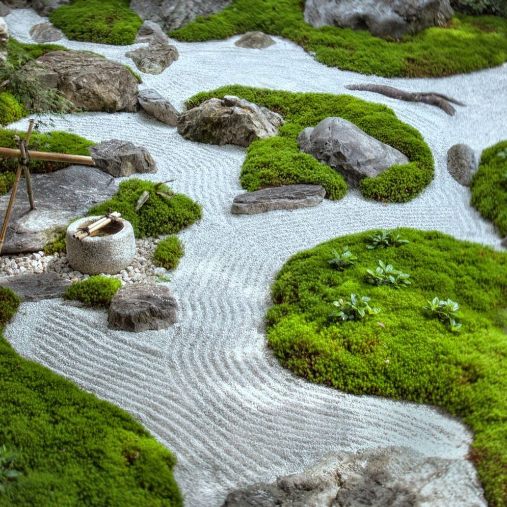 Green outdoor ideas with calming vibes from Zen garden style showing harmonious and balanced various natural elements Image 32