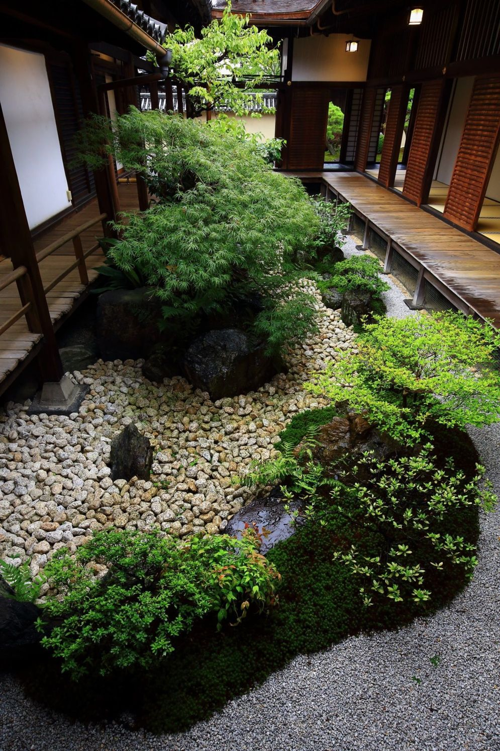 Green outdoor ideas with calming vibes from Zen garden style showing harmonious and balanced various natural elements Image 39